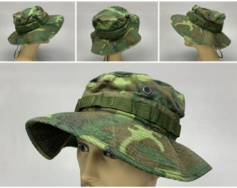 1960s Vintage Lime Green ERDL Jungle Camo Boonie Hat, Dated 1969, USMC Army Special Forces Vietnam War Recon Team Tropical Camouflage Cap