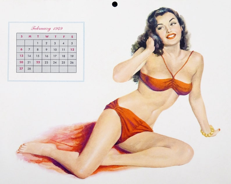 f4e80ae91c0 Original 1940s Vintage Al Moore Pinup Art February 1949