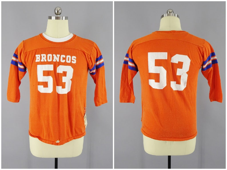more photos 59d96 afa76 1970s Vintage Denver Broncos #53 NFL Football Jersey Linebacker Randy  Gradishar Orange Crush Defense, 3/4 Sleeve Raglan T-Shirt, Size Small