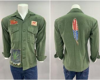 1960s Vintage US Army Surplus Fatigue Shirt US Flag Feather Back Patch Vietnam War Counter Culture Hippy Peace Denim Groovy Deadhead Patches