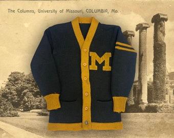 University of Missouri Mizzou Tigers Cardigan Sweater, Original 1920s Vintage Wool Black & Yellow Varsity Letterman Chenille Block Letter M
