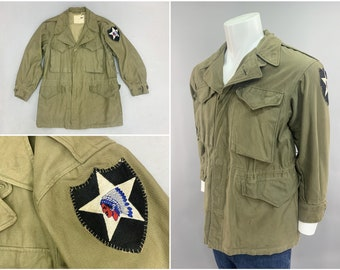 """Original WW2 Vintage M43 Field Jacket with Authentic 2nd Infantry Division Hand Sewn Shoulder Patch, Field Worn Surplus, Mens Size Small 36"""""""