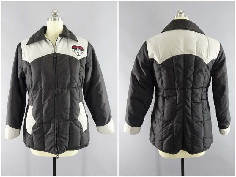 1970s Vintage Comfy Brand Ski Jacket With Scorpion Snowmobiles I Love You Snowmobile Racing Patch Down Filled Size Small Narrow Fitted
