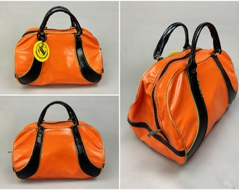 1970s Vintage Orange & Black Striped Vinyl Day Bag from Norwood Hills Country Club Golf Pro Dick Shaiper, Classic 70s Style Sports Satchel