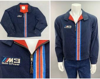 "BMW M3 MPower Windbreaker Racing Stripe Jacket by London Fog 1980s Vintage Preppy Style, Exotic Sports Car Jacket, Mens Size XXL 48"""