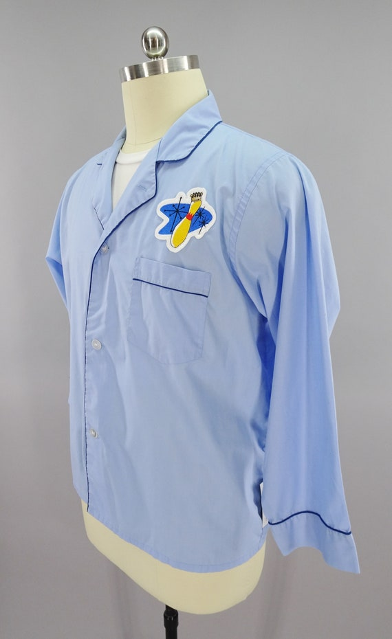 1970s Vintage Diplomat Mens Pajamas with Bowling Pin Patch Size XL 46 48