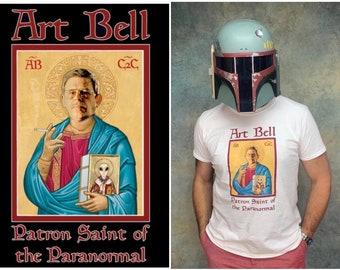 Art Bell Patron Saint of The Paranormal 1990's Vintage Late Night Coast to Coast Esoteric AM Talk Radio UFO Aliens Ghosts & Bigfoot T-Shirt