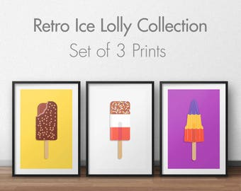 Ice lolly art prints / Ice cream art prints / kitchen decor / set of three prints / triptych / moden home decor