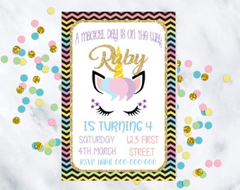 Customized Unicorn Birthday Invitation Invitations Rainbow