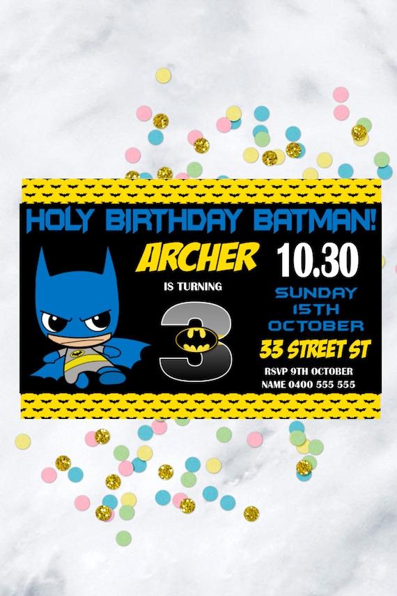 Batman Birthday Invitation Personalized