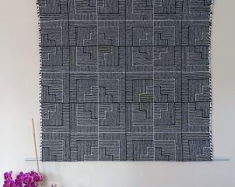 handwoven wall hanging pure wool in black-white with a blur of green, modern handwoven tapestry soundproof