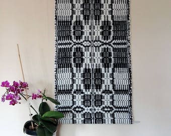 wall decoration black and white handwoven of pure new wool, traditional swedish patterned wall hanging