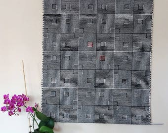 handwoven tapestry black-white, pure wool, wall decoration handwoven, black-white with a blur of red, noise insulation wool, AtKathleens