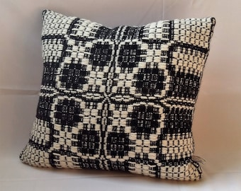sofa cushion hand woven black-white wool 50cm x 50cm, throw pillow pure wool traditional patterned hand woven, sofa cushions by AtKathleens