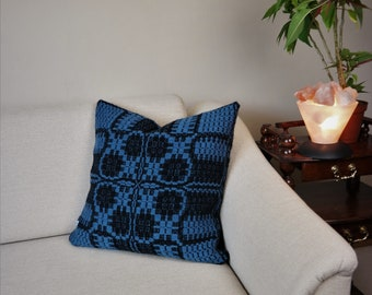 Pillow cover of 100% wool black and blue, handwoven by AtKathleen's, sofa cushion 20'' x 20'', boho cushion cover for your mom