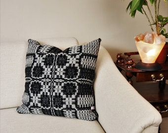 """handwoven sofa cushion pure wool in black-lightgrey aprox. 20"""" x 20"""", cozy boho cushion cover for your home"""