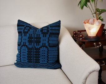 Cozy sofa cushion 20''x20'' of 100% wool handwoven black and steel-blue, handwoven traditional patterned Boho cushion cover