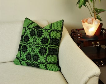 """Handwoven sofa cushion cover for your living room 20"""" x 20"""", Boho pillow cover of wool in black and green"""