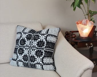 Hand woven sofa cushion  black-white wool 50cm x 50cm, throw pillow pure wool traditional patterned