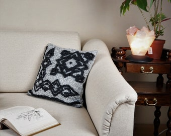 Handwoven designer cushion cover in white and anthracite out of pure wool approx. 40cm x 40cm (15,7'' x 15,7'')