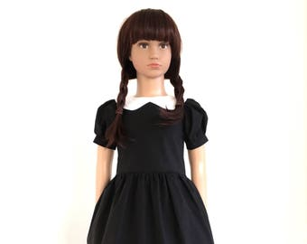 Wednesday's dress - Peter pan collar dress - black and white