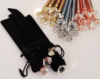 Diamond Gem Pen + Pouch | Ballpoint Pens | Planner Journal Notebook | Rhinestones | Crystal Top Pens | Mother's Day | Rose Gold Silver Tone
