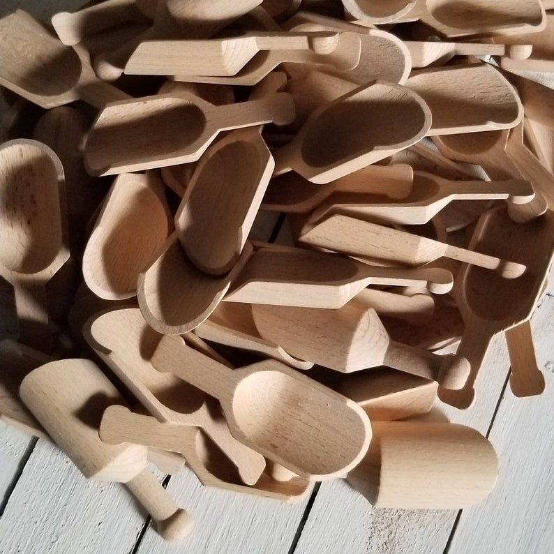 5 Small Wooden Scoops 3 Miniature Wooden Scoops Unfinshed Wooden Scoop Candy Bar Scoop Party Favor Scoops Bath Salt Scoops Mini