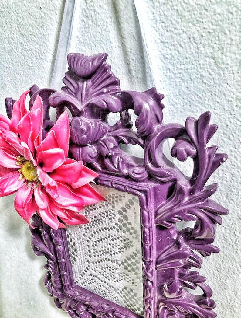 Girls Room Organizer Girls Bathroom Decor Lace Earring Flower Earring Holder Jewelry Storage Purple Earring Display
