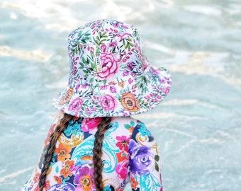 Kids Summer Hatgirls Bucket Hatswim Hatsgirls Beach Hatfloral Swimweargirls Birthday Giftkids Sun Hatskids Swimwearkids Swim Hats