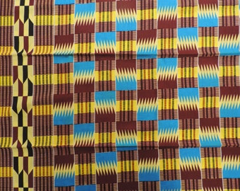 African fabric, Ankara wax print for sale by the yard, yellow teal and maroon