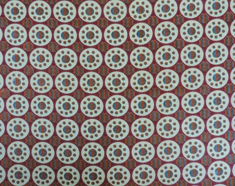 African fabric, Ankara wax print for sale by the yard, beige and maroon