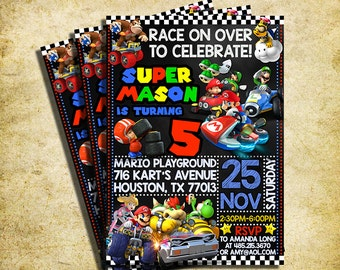 Mario Kart Invitation Mario Kart Birthday Party Chalkboard