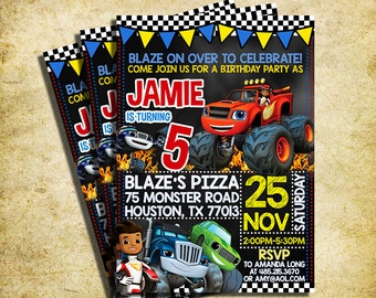 Blaze And The Monster Machines Invitation - Blaze And The Monster Machines Chalkboard Birthday Invite - Printable And Digital File