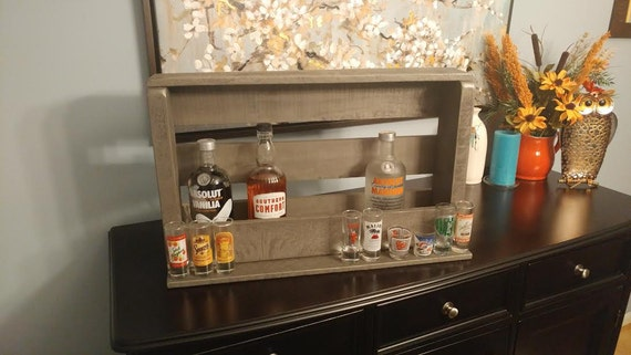 Liquor holder with shot glass front shelf, made from Pallet Wood