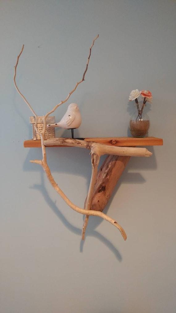 Handmade driftwood wall shelf.