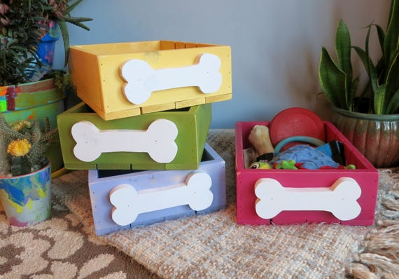 Fun storage boxes for dog toys and treats/Can make in any color along with any shade. Listed price is per box.