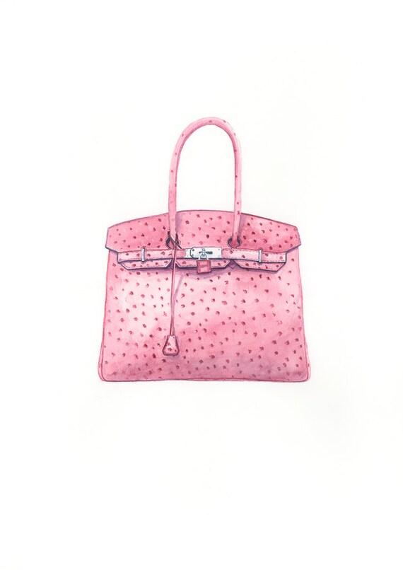 2ae9ec097f ... where to buy hermes birkin handbag fashion art watercolour print pink  bag gifts for her haute