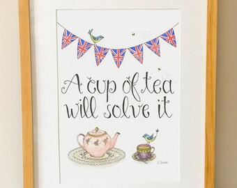 Cup Of Tea Illustration - Whimsical Art - Tea Print - Quote - Kitchen Art - British - Tea Lover Gift - Tea Wall Art - Watercolor Print