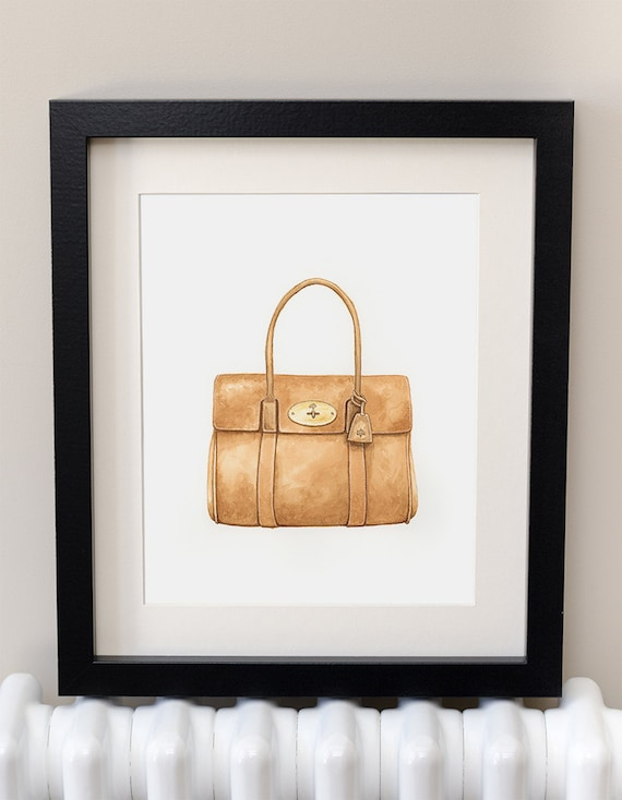 MULBERRY BAYSWATER - Handbag - Fashion Art - Watercolor Print - Dressing  Room Wall Art - Gift For Her - Haute Couture Art - Mulberry - Bag d4a01117b4389