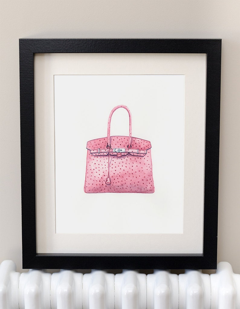 4daa1d0026 HERMES BIRKIN Handbag Fashion Art Watercolour Print