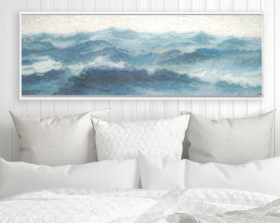 Waves, Ocean Wall Art, Contemporary Oil Painting On Canvas - Ready To Hang Large Panoramic Canvas Wall Art Print With Or Without Float Frame