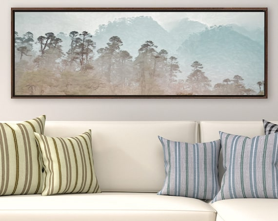 Tropical Foggy Mountain Forest, Oil Landscape Painting On Canvas - Ready To Hang Large Canvas Wall Art Prints With Or Without Floating Frame