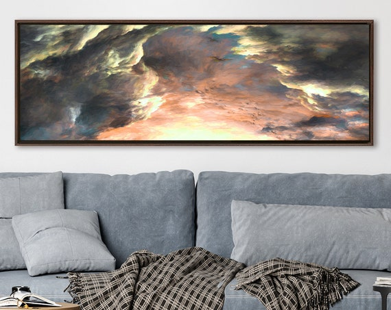 Clouds celestial wall art, impressionist oil painting on canvas - ready to hang large canvas wall art prints with or without floating frames