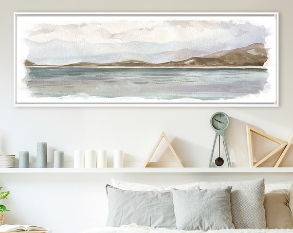 Large Coastal Landscape Painting - Contemporary Watercolor Wall Art Print. Ready To Hang Large Canvas Wall Art With Or Without Floater Frame