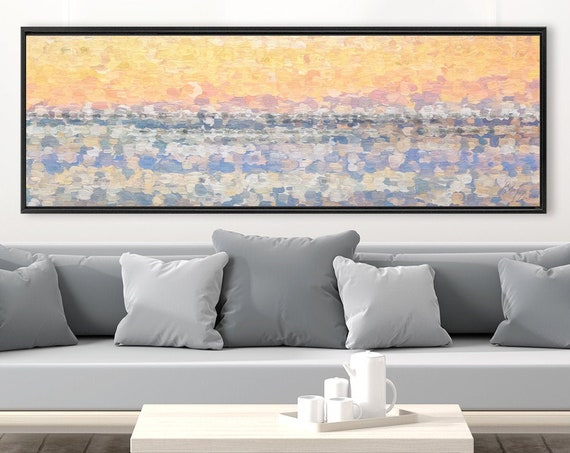 Desert sunset wall art, pointillist landscape painting on canvas - ready to hang gallery wrap canvas wall art prints with or without frames.