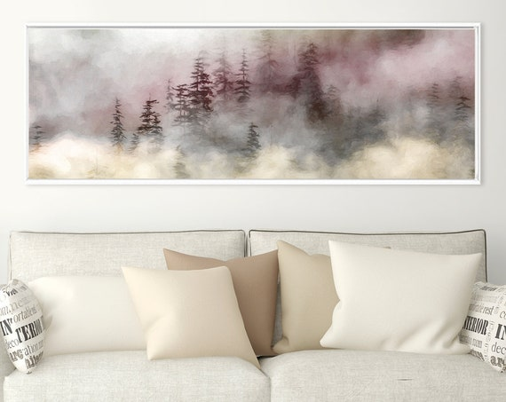 Foggy Mountain Forest, Oil Landscape Painting On Canvas - Ready To Hang Large Panoramic Canvas Wall Art Prints With Or Without Float Frames.