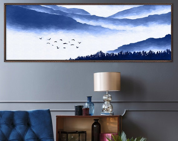 Blue mountains watercolor landscape painting - ready to hang large panoramic gallery wrap canvas wall art prints with or without float frame
