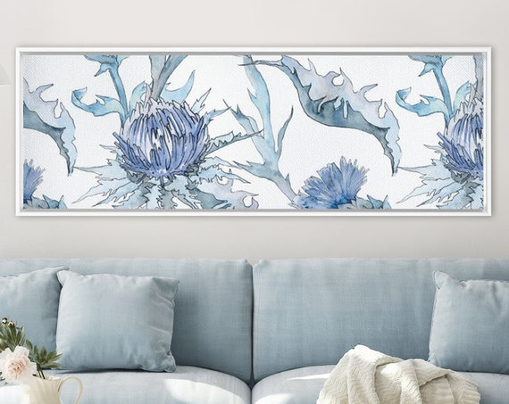 Thistle - large blue canvas wall art. Watercolor flowers painting. Botanical wall art print. Large panoramic canvas or metal wall art print.