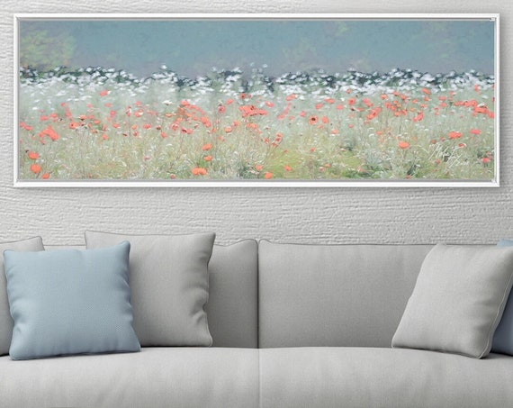 Poppy Meadow Floral Wall Art, Oil Painting On Canvas - Ready To Hang Large Botanical Canvas Wall Art Prints With Or Without Floating Frames.