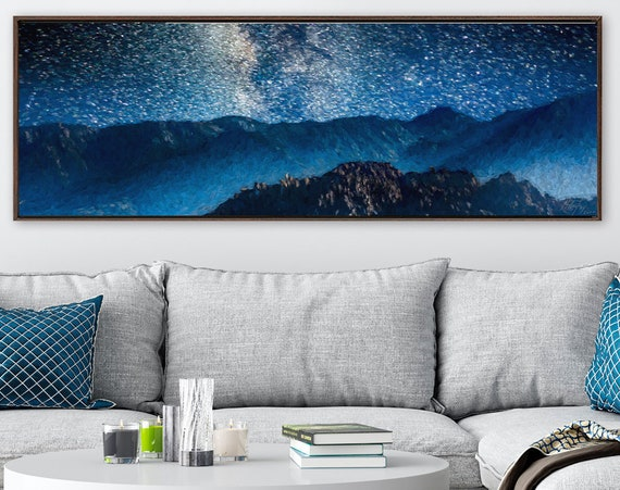 Stars at night in the mountains, oil landscape painting on canvas - large gallery wrap canvas wall art prints with or without floater frames